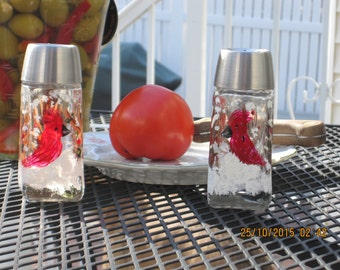 Salt and Pepper Shaker with Cardinal in Snow hand painted