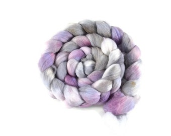 Organic Polwarth 4 oz hand dyed roving, Combed Top, Polwarth spinning fiber, purple, gray, silver - Dreams