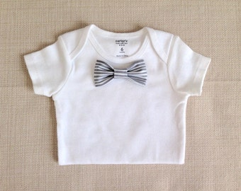 Gray Stripes -  Baby Bow Tie BodySuit w/ Snap-On Bowtie: 1 Bodysuit (Short or Long Sleeve)+1 Bowtie ONLY! Newborn to 24 Months.