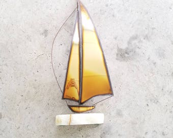 Vintage Signed DeMott Sailboat Sculpture 1970s Minimalist Art Original Rare Marble Brass Copper Steel Nautical Ocean Sailing Yacht Artwork