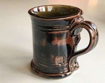 Slab built stoneware mug