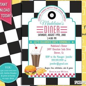 50s Retro Diner Invite, 50s Party Invitation, Burger Party Invite, 1950s Diner Invite 50s Party Invite, 50s Theme Party, 50s Diner Theme,