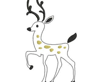 Embroidery design machine deer animal christmas instant download