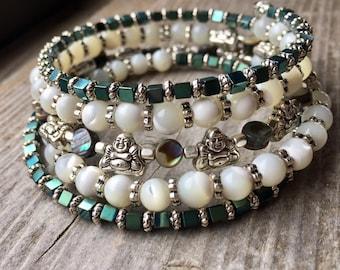 Buddha Bliss Multi Gemstone Memory Wire Bracelet With Abalone