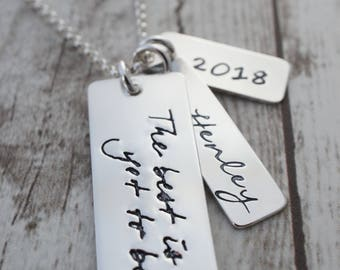 Jewelry Graduation Gift - Personalized Necklace - The Best is Yet to Be - Thoreau Quote Necklace w/ Name and Year - Custom Design by EWD