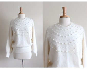 Vintage Embellished White Angora Sweater
