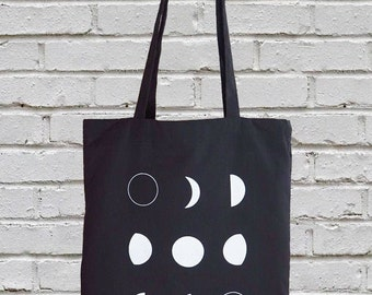 Moon Phases Tote Bag, Cotton Canvas Tote,  gift-for-her, Moon Tote Bag, Screen Printed