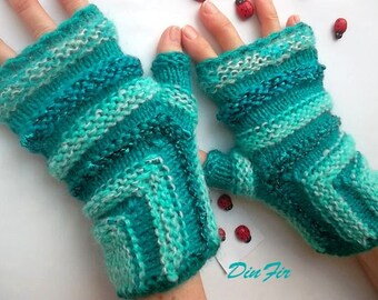 Women L 20% OFF Ready To Ship Hand Knitted Bohemian Gloves Boho Accessories Fingerless Mittens Warm Wrist Warmers Winter Cabled Striped 1004