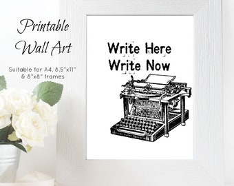 Printable Wall Art -'Write Here Write Now' // Gifts for Writers // Gifts for Authors // Authorpreneur // Writing Reminder // Writing Life