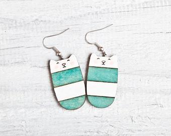 Wood Cat Earrings Cute Dangle Earrings Turquoise Long Earrings Mint Earrings Striped Cat Nickel free dangling jewellery Valentine's Day Gift
