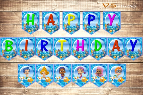 Items similar to Bubble Guppies Happy Birthday Banner - INSTANT ...