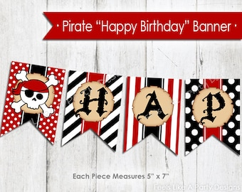 Pirate Happy Birthday Banner - Instant Download