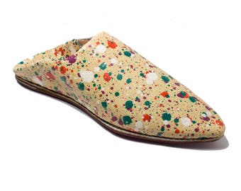 Women's Unique Beige Color Spots Moroccan Traditional Slippers, Babouches, Handmade Genuine Leather