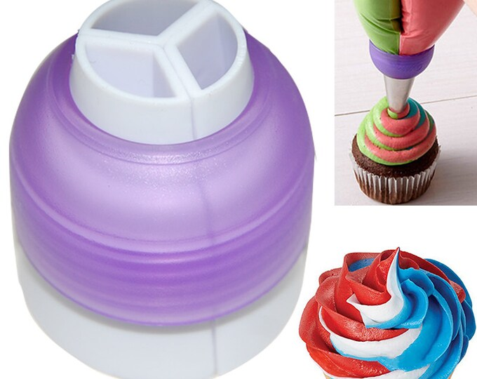 Tri Color 3 Section Striping Piping Tip Nozzle Converter Coupler Frosting Icing Cupcakes Cookies Cake Decorating Tool Pastry Bags