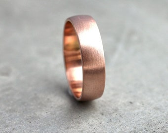 Wide Rose Gold Men's Wedding Band, Recycled 14k Rose Gold 6mm Brushed Low Dome Man's Gold Wedding Ring -  Made in Your Size