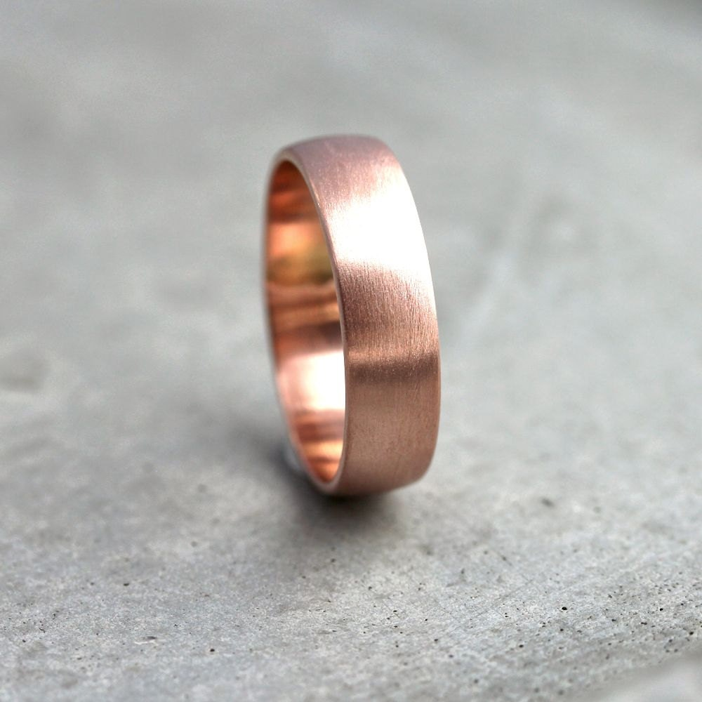 Wide Rose Gold Mens Wedding Band Recycled 14k