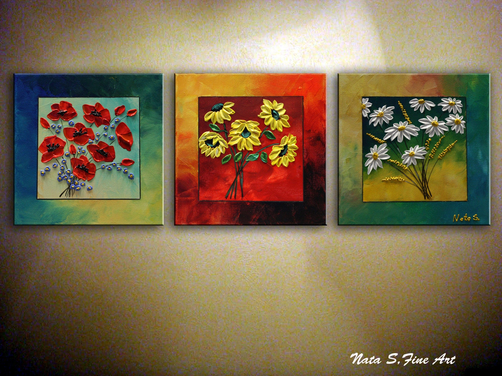Flowers Painting Original Abstract Painting Triptych # Muebles Lifetime Espana