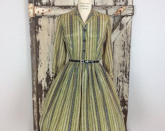 Vintage 1950s Silk Striped Button Down Long Sleeve Full Pleated Dress Small 27 Waist