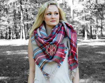 Blanket Scarf-Monogrammed Scarf-Plaid Scarf-Tartan-Monogram Scarf-Red Plaid-Fall Scarf-Monogrammed Gift-Christmas Scarf-Christmas Gift