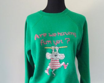 "Vintage Cross-Stitch ""Are We Having Fun Yet?"" Exercise Mouse Sweatshirt 1980s"