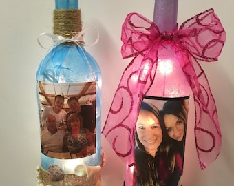 Best Friend Wine Bottle Lamp, Family Picture, Customizable Bottle Lamp, Personalized Gift For Friend or Family, Bottle With Lights