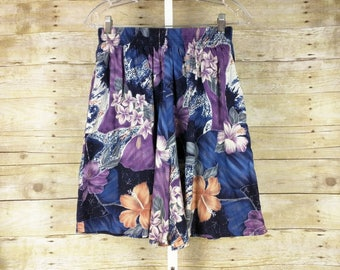 Vintage Shorts High Waist Purple Blue Hawaiian Print Women's S M Shannon Marie 80s