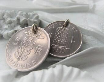 Silver Coin Pendant Belgique Belgie Coin Vintage Coin Item No. 8224 8222