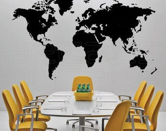 Wall decals DETAILED WORLD MAP Vinyl art stickers interior decor for home or office