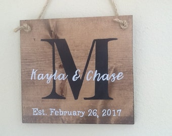 Monogram sign, Initial, last name, established,  family name sign, personalized wedding gift, bridal shower gift, rustic wood, wall decor