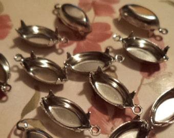 15mm x 7mm navettes silvertone closed back pendant setting prong cb1r 12 pieces lot l