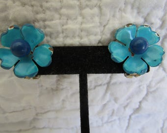 Vintage Clip Earrings Blue and Turquoise Flowers Not Perfect
