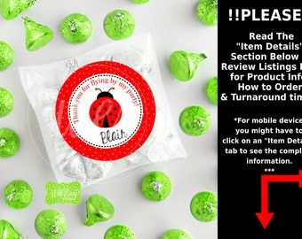 Ladybug Favor Stickers - Ladybug Thank You Stickers - Ladybug Gift Stickers - Ladybug Birthday Stickers - Digital or Printed Available