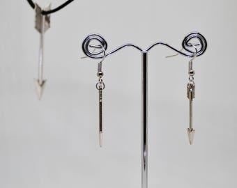 Silver arrow earrings