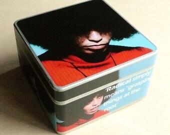 Box Angela Davis. Wooden box. Jewerly box
