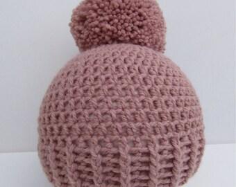 Crochet baby hat, crochet hat, baby hat, baby bonnet, crochet bonnet,newborn baby hat, pompom hat, baby pom pom hat