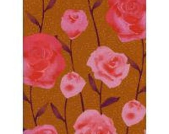 PREORDER! - Cotton Fabric by the Yard - Fat Quarter Bundle - Quilt Fabric Bundle - Cotton + Steel - Firelight - Roses - Caramel