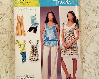 Misses Summer Dress or Top Sewing Pattern, Simplicity 0628, Sleeveless, Short Sleeve, Day, Evening, Gathered Waist, UNCUT, Size 6 8 10 12 14