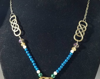Blue, Green and Brass Pendant Necklace