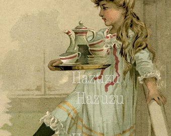 Victorian Girl with aTea Tray printable lithograph art vintage instant download mixed media collage journal scrapbooking