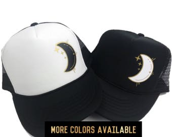 Women's  Hat, Moon Trucker Hat, Space Hat, Crescent Moon, Boho Hat, Lunar Hat, Women's Trucker Hat, Adjustable Hat, Gold Moon Hat, Black