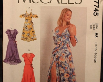 McCalls 7745   Misses' Wrap Dresses With Neckline and Sleeve Variations  in Size 14-16-18-20-22