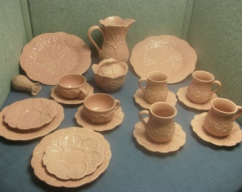 Cabbage dishes, blush pink dishes, Subtil dishes made in Portugal, ceramic china,