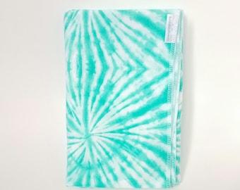 Blue Green Tie Dye Swaddle Blanket / Baby Shower Gift / Baby Boy Gift / Baby Girl Gift / Newborn Swaddle Blanket / Blue Receiving Blanket