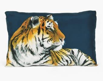 Tigers Cushion - handmade digitally printed silk cushion