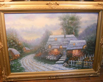Vintage Cottage Oil Painting/ Signed/Framed