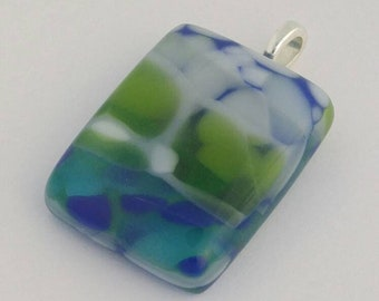 Fused Glass Pendant, Pebble Look, One of a Kind, Wearable Art, Handmade Jewelry, Blue Green
