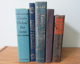 Blue Book Set, Blue Books By the Foot, Blue Instant Library, Vintage Books by the Foot, Home Decor Books