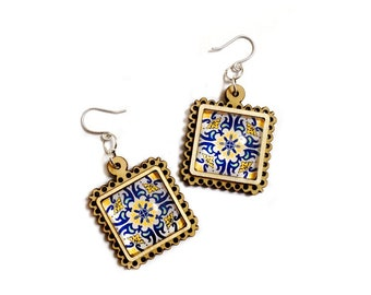Moorish Tile Decor Geometric Silver Earrings, Blue Gold Decor inspired by decorated tiles in Tel Aviv city that characterize the Bauhaus