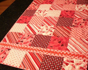 Chemistry Handmade Quilted Table Runner or Topper - Valentine's Day Decoration