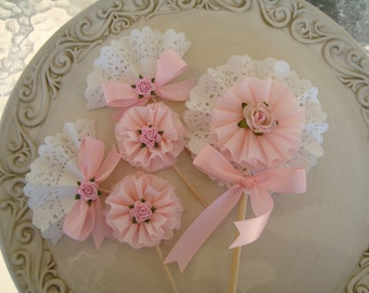 Mother's Day Decoration Pretty in Pink and Lace Cupcake Toppers and Wand Shabby Chic